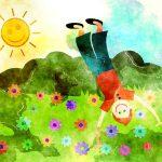 Kind speelt in het stralende zonnetje